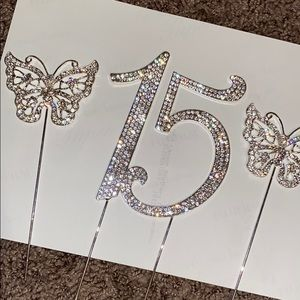 15 cake topper with butterflies